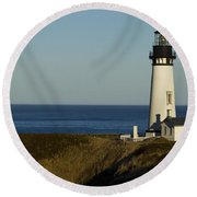 Yaquina Head Lighthouse 4 D Round Beach Towel