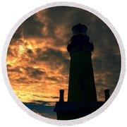 Yaquina Head Lighthouse 5 Round Beach Towel