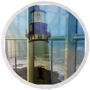 Yaquina Head Lighthouse Mirage  Round Beach Towel