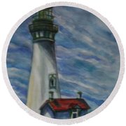 Yaquina Head Lighthouse Original Painting Round Beach Towel