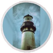 Yaquina Head Lighthouse Texture Round Beach Towel