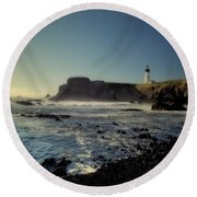 Yaquina Lighthouse And Beach No 2 Round Beach Towel
