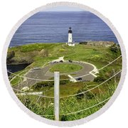 Yaquina Lighthouse From Salal Hill Trail  Round Beach Towel