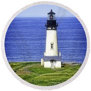 Yaquina Lighthouse From The Big Hill Round Beach Towel