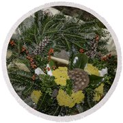 Yarrow And Lotus Wreath Squared Round Beach Towel