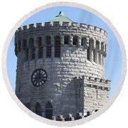 Ye Old Castle Clock Tower Round Beach Towel