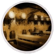Ye Old Wine Cellar In Tuscany Round Beach Towel by John Malone