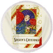 Year 1928 Vintage Greeting Card Round Beach Towel