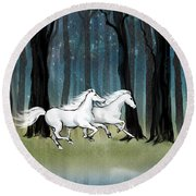 Year Of The Wood Horse Round Beach Towel