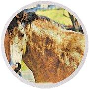 Yeller Horse Round Beach Towel
