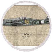 Yellow 10 Focke-wulf Fw190d - Map Background Round Beach Towel