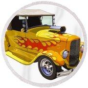 Yellow 1928 Hotrod Pickup Truck  Round Beach Towel