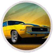 Yellow 1969 Camaro Ss Round Beach Towel