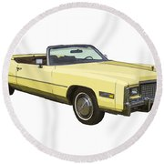 Yellow 1975 Cadillac Eldorado Convertible Round Beach Towel