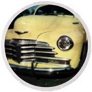 Yellow 47 Chevrolet Round Beach Towel