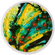 Yellow Abstract Round Beach Towel by Sharon Cummings