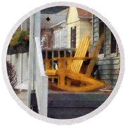 Yellow Adirondack Rocking Chairs Round Beach Towel