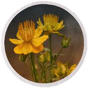 Yellow Aged Floral Round Beach Towel