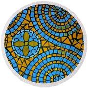 Yellow And Blue Mosaic Round Beach Towel