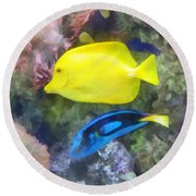 Yellow And Blue Tang Fish Round Beach Towel