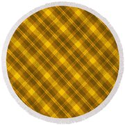 Yellow And Brown Diagonal Plaid Pattern Cloth Background Round Beach Towel