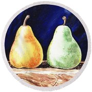 Yellow And Green Pear Round Beach Towel