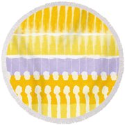 Yellow And Grey Tie Dye Round Beach Towel by Linda Woods