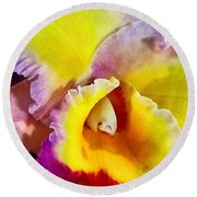 Yellow And Magenta Cattleya Orchid Round Beach Towel