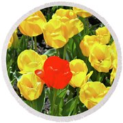 Yellow And One Red Tulip Round Beach Towel