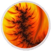 Yellow And Orange Fractal Fire Round Beach Towel