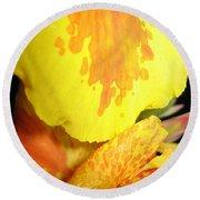 Yellow And Orange Petals Illuminated Round Beach Towel