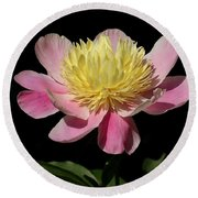 Yellow And Pink Peony Round Beach Towel