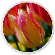 Yellow And Pink Tulips Round Beach Towel
