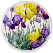 Yellow And Purple Irises Round Beach Towel