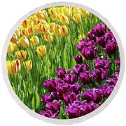 Yellow And Purple Tulips Round Beach Towel