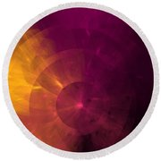 Yellow And Purple Umbrella Top Abstract  Round Beach Towel