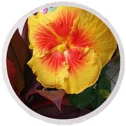 Yellow And Red Hibiscus Round Beach Towel
