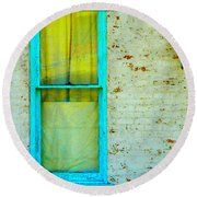 Art Deco Lamp And Yellow And Turquoise Window Round Beach Towel
