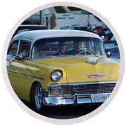 Yellow And White Classic Chevy Round Beach Towel