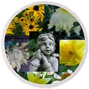 Yellow And White Flower Collage Round Beach Towel
