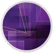 Yellow Angles Through Purple Landscape Round Beach Towel