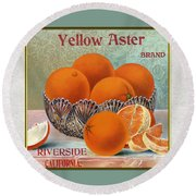 Yellow Aster Brand Oranges Vertical Round Beach Towel