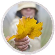 Yellow Autumn Leaf Round Beach Towel