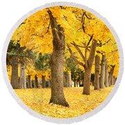 Yellow Autumn Wonderland Round Beach Towel