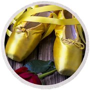 Yellow Ballet Shoes Round Beach Towel
