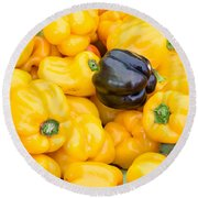 Yellow Bell Peppers Round Beach Towel