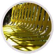 Yellow Bench Round Beach Towel