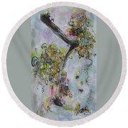 Yellow Blossoms Painting Flowr Butterflies Art Abstract Modern Spring Color Flower Art Round Beach Towel
