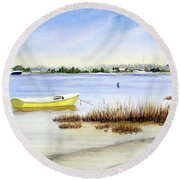 Yellow Boat I Round Beach Towel