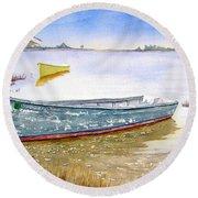 Yellow Boat II Round Beach Towel